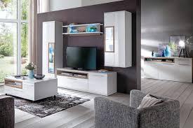 wohnzimmer parla 31 weiß hochglanz 6 teilig wohnwand mit led tisch
