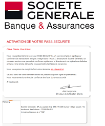 siege social societe generale avis important activation de votre pass securite scam