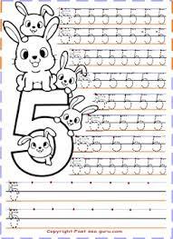 Preschool Number 5 Tracing Worksheets