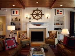Nautical Style Living Room Furniture by Nautical Living Room With Ship Wheel Above Fireplace And Framed