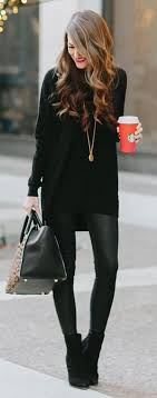 All Black Dress Leather Leggings Boots