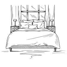 realistische skizze des schlafzimmers gezeichnete