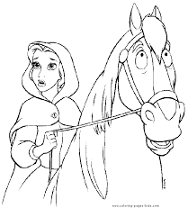 Belle And Her Horse Beauty The Beast Color Page Disney Coloring Pages