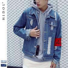 424 Denim Jacket Destroy Washed Distressed Vintage Holes Zipper Coat Outerwear Brand Clothing Hip Hop Men
