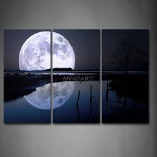 3 Piece Black And White Wall Art Painting Reflection Of Big Moon Over Sea Beach Print On Canvas The Picture Space 4 Pictures In Calligraphy From