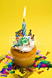 Premium Stock of Yellow Birthday Cupcake