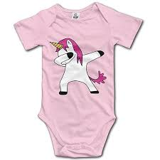 Raining Sunlight Cartoon Dabbing Unicorn Vector Cute Unisex Short Sleeve Baby Clothes
