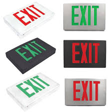 led die cast aluminum exit sign with and green lettering