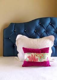 Black Leather Headboard With Crystals by Peacock Blue Velvet Tufted Upholstered Headboard With Crystal