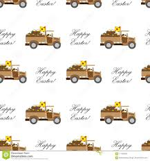 Easter Background With A Rabbit On A Truck Stock Vector ...