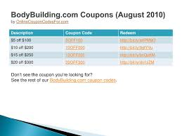 PPT - BodyBuilding.com Coupon Codes PowerPoint Presentation ... Bodybuildingcom Coupons 2018 10 Off Coupon August Perfume Coupons Crossfit Chalk Weve Made A Promo Code For Anyone Hooked Creations Deal Up To 15 Coupon Code Promo Amazoncom Bodybuilding Appstore Android Com Facebook August 122 Black Angus Fresno Ca Codes 2012 How To Use Online Save On Your Order Bodybuildingcom And Chemyocom Chemyo Llc 20 Sale Our Ostarine