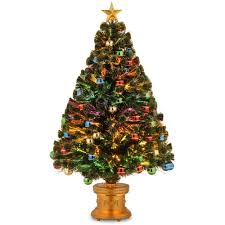 National Tree Company 4 Ft Fiber Optic Fireworks Artificial Christmas With Ball Ornaments