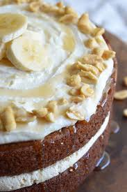 Banana Layer Cake With Peanut Butter And Honey Frosting This Fun Easy Naked