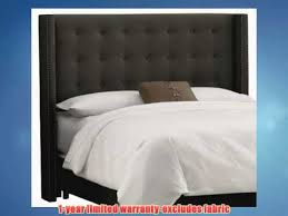 skyline furniture nail button tufted wingback queen headboard in