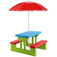 amazon com little tikes easy store picnic table with umbrella