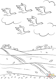 Click The Birds Fly South In Autumn Coloring Pages