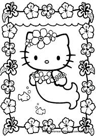 This Is A Coloring Sheet With Hello Kitty That Can Be Printed