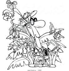 Free Printable Jungle Book Coloring Pages Animals Vector Cartoon Tourist Page Outline Scene