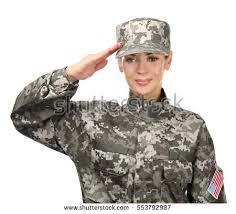 Female Soldier Saluting On White Background