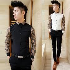 2015 Baroque Vintage Dress Shirt Men Chemise Homme Mens Slim Fit Floral Print Casual Patches