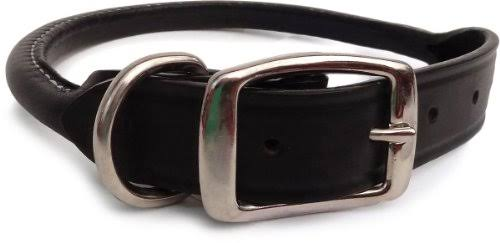 Auburn Leathercrafters Rolled Dog Collar - Black - 24