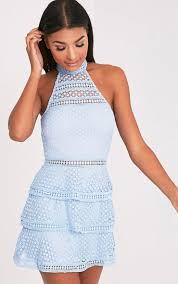 Raine Dusty Blue Lace Panel Tiered Bodycon Dress