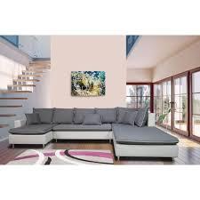 canapé gris et blanc pas cher canapé d angle droit panoramique 5 places simili tissu tahiti pas