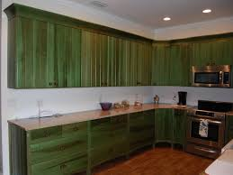 Graceful Kitchen With Rustic Green Cabinets Made Of Wooden Material Brown Knobs