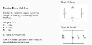 Circuit 1 Series Electrical Theory Math Quiz Calculate The Current In Amperes A