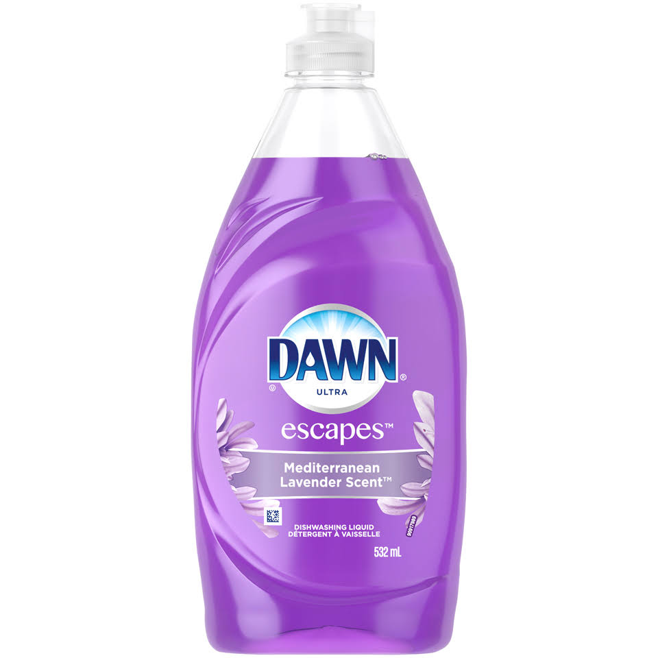Dawn Ultra Escapes Mediterranean Lavender Scent Dishwashing Liquid 532 mL Bottle