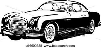 Clip Art Of Black And White Retro Illustration A Vintage Car