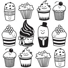 Cute Cupcake Drawing Cute Cupcake Line Drawing Becuo Clip Art Library