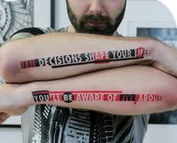 Modern Typography Mens Outer Forearm Black And Red Ink Quote Tattoo