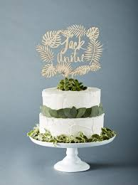 Custom Tropical Leaves Wedding Cake Topper