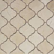 crema marfil honed arabesque baroque marble mosaic