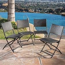 Folding Patio Chairs Amazon by Amazon Com Outdoor Folding Chair Set Of 4 Brown Wicker