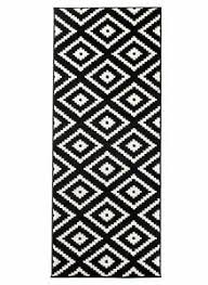 läufer teppich schwarz weiß modern geometrisch muster