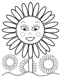 Elegant Sunflower Coloring Pages For Kids With Page