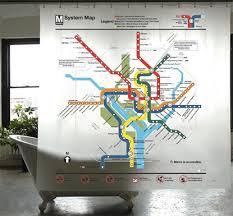 Washington DC Transit System Map Shower Curtain PEVA