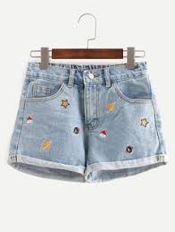 SheIn Offers Blue Embroidered Cuffed Denim Shorts More To Fit Your Fashionable Needs