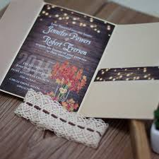 Classic Fall Maple Leave Rustic Stringlight Wedding Invitation EWPI186