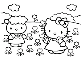 Hello Kitty Planting Flowers Coloring Pages