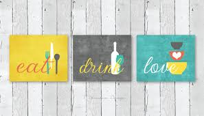 Kitchen Wall Art Print Set Eat Drink Love Mustard Yellow