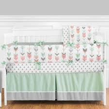 sweet jojo designs mod arrow grey coral and mint crib bedding