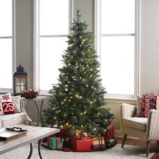 Pre Lit Pencil Christmas Tree Canada by 7 Ft Pre Lit Led Emerald Pine Christmas Tree With Bluetooth Multi