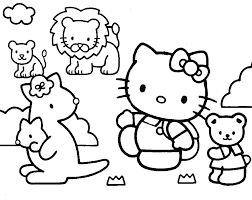 Cartoon Hello Kity Preschool Coloring Pages Zoo Animals
