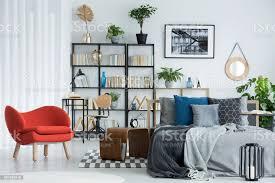 orange sessel im schlafzimmer innenraum stockfoto und mehr bilder bett