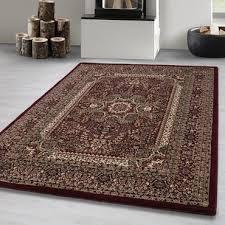 orientteppich kurzflor wohnzimmerteppich klassiker teppich orientalisch rot