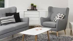 garnitur kamma retro 3 sitzer sofa sessel stoff hellgrau