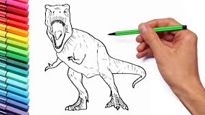 Drawing And Coloring Tyrannosaur From Jurassic World Learning Dinosaurs With Color Pages For Kids